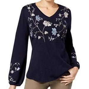 Style & Co Peplum Embroidered Pullover Sweater XXL